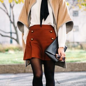 Brown mini skirt with gold buttons detailing